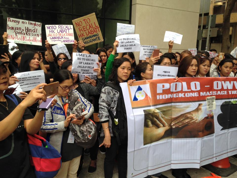 HK Filipinos protest recall of Labour Attache